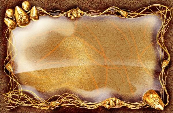 Открытка с золотым фоном 257